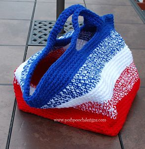 Big Striped Bag - free 4th of July crochet patterns