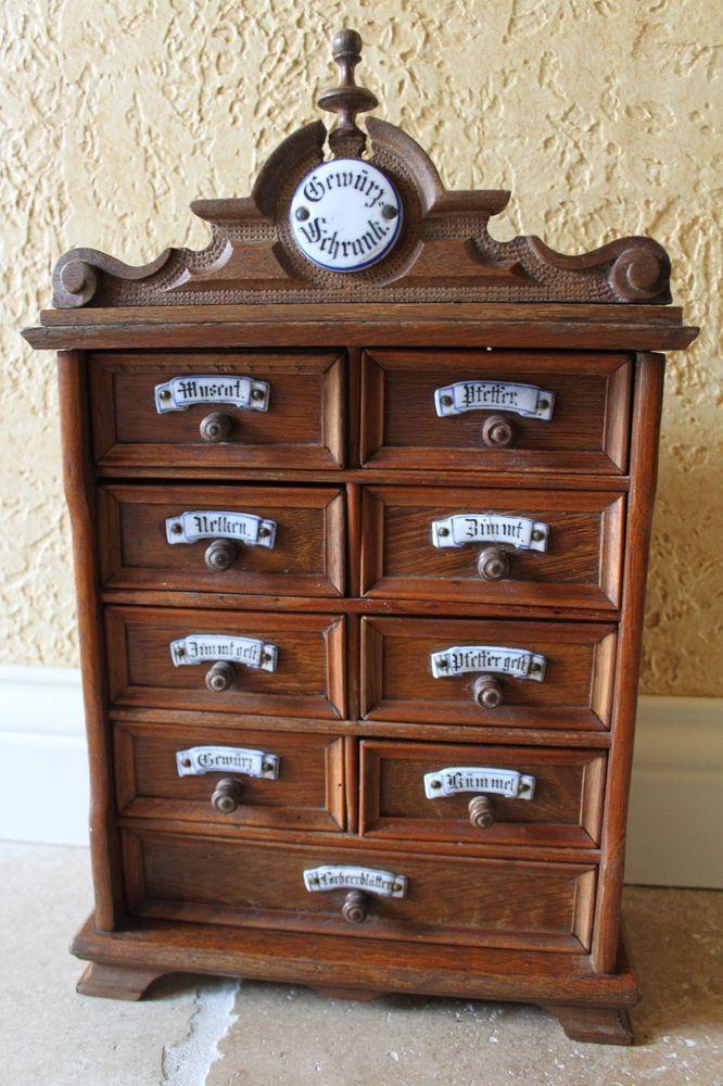 Early 1900 German Spice Cabinet porcelain plaques carved pediment ALL  ORIGINAL - 134 Best Antique Spice Boxes Images On Pinterest Prim Decor