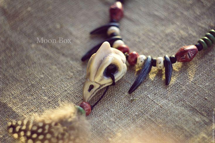 Купить Ожерелье Шамана с черепом цесарки - шаман, шаманизм, ролевая игра, ролевые игры, фотосессия