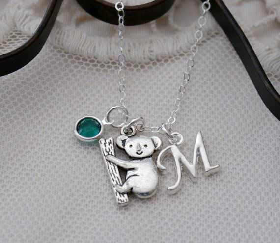 Koala, Koala Necklace, Koala Bear Necklace, Silver Koala, Koala Bear, Personalized Koala Gifts, Letter Birthstone, Initial, Custom, CLCB