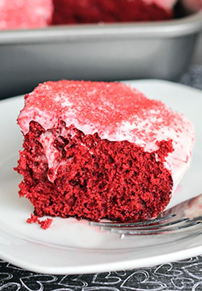 Skinny Red Velvet Poke Cake is perfect for your valentine!