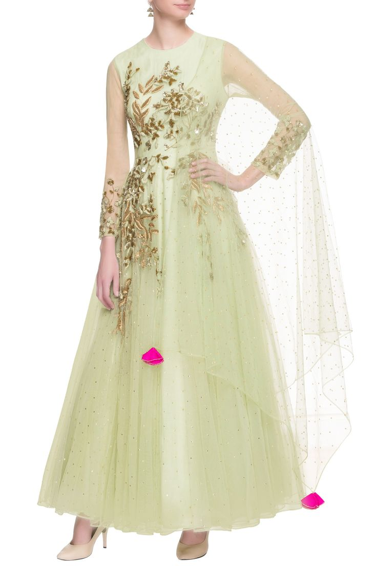 Shop Bhumika Sharma - Light green net flared anarkali Latest Collection Available at Aza Fashions