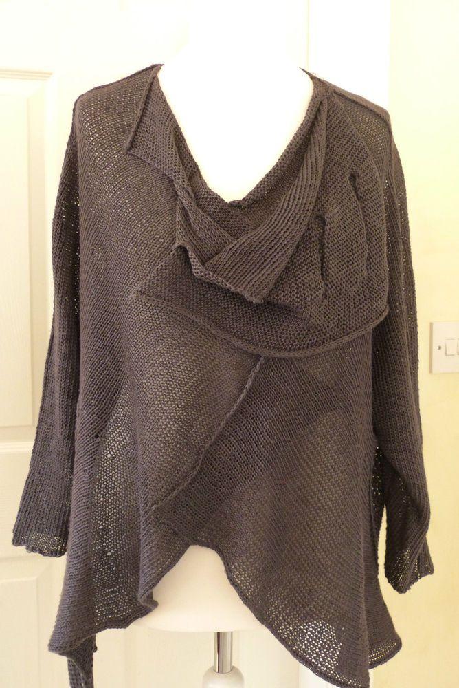 fabulous ZUZA BART quirky  layering jumper gunmetal grey LARGE 100% LINEN #ZuzaBart
