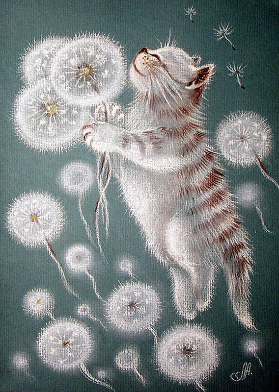 I love this cat and dandelion painting!  кошки в одуванчиках