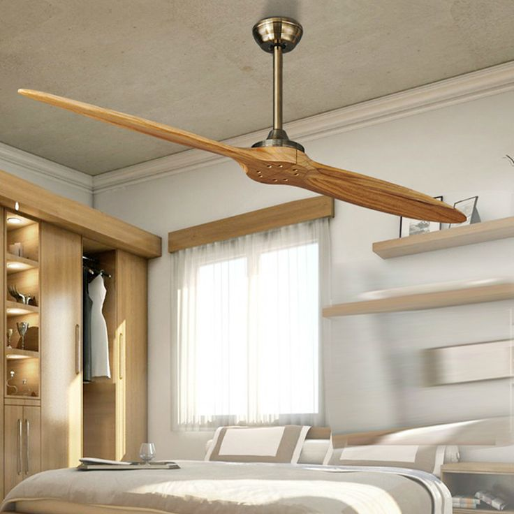 Village Nordic 2 Wooden Blade DC Ceiling Fan With Remote Control Attic Dining Room Without Light