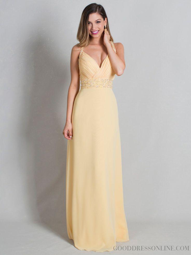 2015 Chic A-line Floor-length V-neck Beading Bridesmaid Dresses