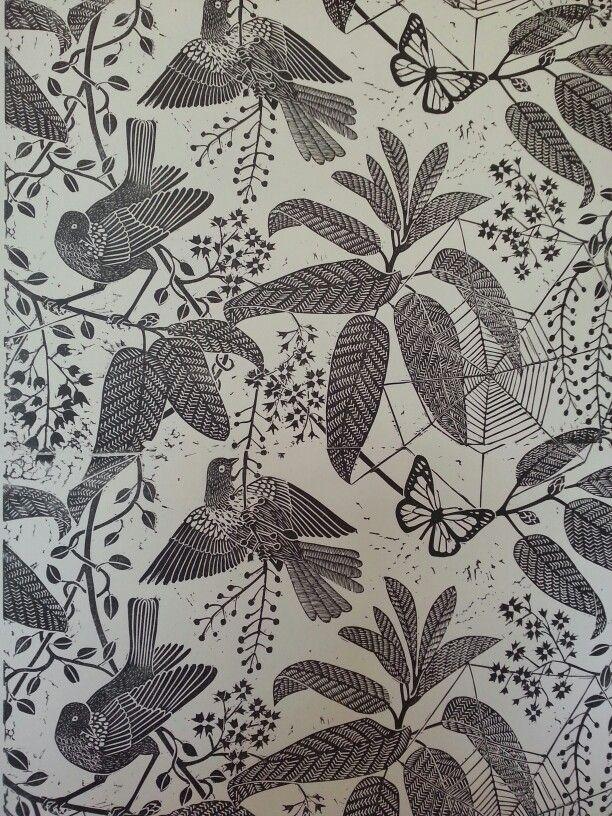 Marthe Armitage jungle birds handprinted wallpaper linocut hogarth museum exhibition