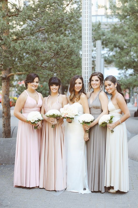 Blush, rosewater, mocha, and oyster ballgowns | twobirds Bridesmaid Dress | a real wedding featuring our multiway, convertible dresses