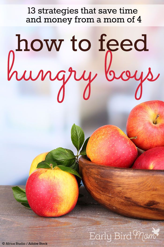 Kids eating you out of house and home? See this post for tips from a mom of 4 on how she feeds her boys and saves money on groceries each month. Time-saving strategies, ideas for cheap meals, too.