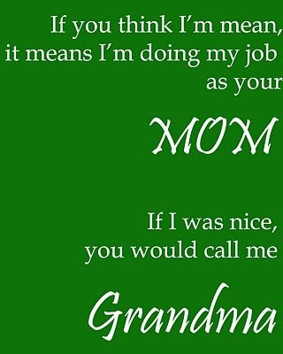 If you think I'm mean, it means I'm doing my job as your Mom.  If I was nice, you would call me Grandma (or Nana!).