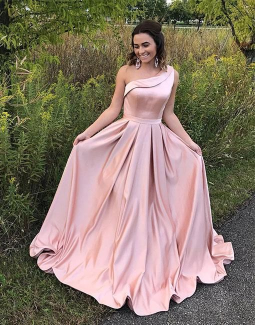 Pink Prom Dress,One Shoulder Prom Dress, Long Evening Dress,A Line Pleated Prom Dress