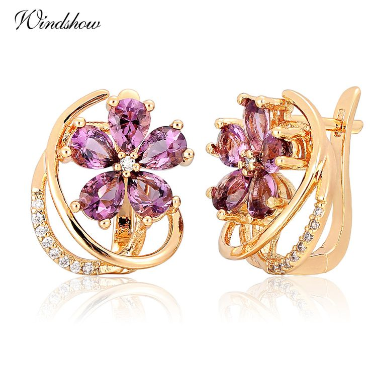 2016 Design Five Petal Purple Flower Purple Amethyst  Yellow Gold Plated Huggies Small Hoop Earrings Jewelry for Women bijoux