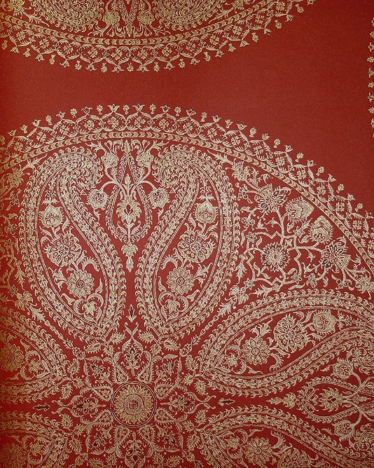 Deep red wallpaper | Paisley Circles from the Caverley Collection by Sanderson