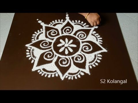 easy flower rangoli for margazhi - simple kolam designs with dots - easy dots muggulu - YouTube