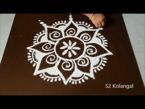 easy flower rangoli for margazhi - simple kolam designs with dots - easy dots muggulu - YouTube