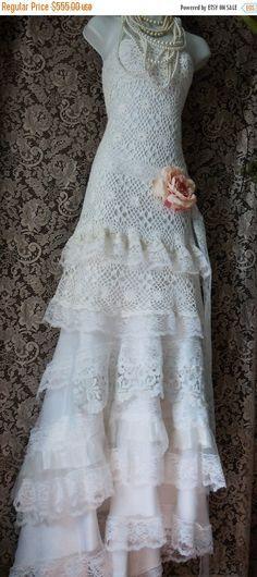 Primavera venta Crochet encaje vestido de novia por vintageopulence