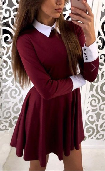 Burgundy Plain Pleated Peter Pan Collar Mini Dress
