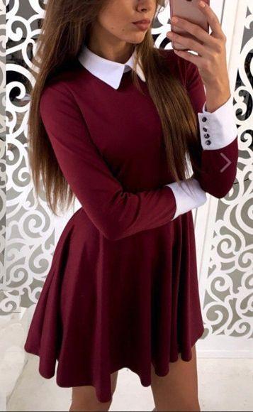Burgundy Plain Pleated Peter Pan Collar Mini Dress
