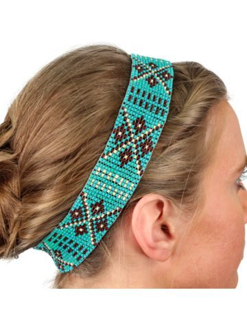 Turquoise, Ivory, and Brown Aztec Seed Bead Headband