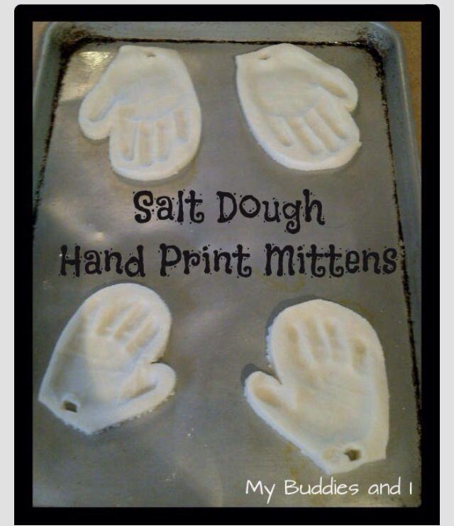 Salt Dough Hand Print Mitten Ornament