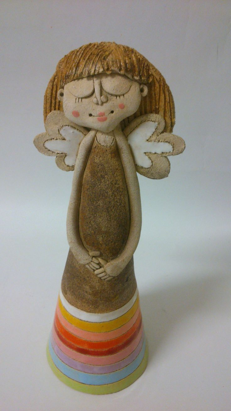Andělínka proužkovaná Soška 26 cm vysoká, celoglazovaná
