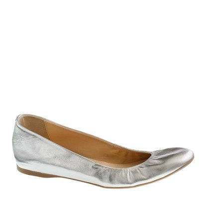 We resurrected one of our most popular ballet flats from the J.Crew archives—and for good reason. With a cushioned insole for maximum comfort, a rubber sole for maximum flexibility and an elasticized topline so they hug your feet just so, they feel as good as they look. <ul><li>Metallic leather upper.</li><li>Elasticized topline.</li><li>Cushioned insole, slight interior wedge.</li><li>Rubber sole.</li><li>Import.</li></ul>