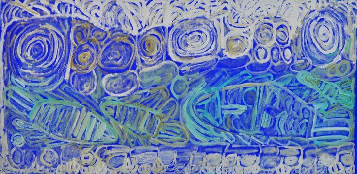 Sonia Kurarra, Martuwarra, 20!4, acrylic paint on canvas, 120 x 60 cm. Mangkaja Arts, Aboriginal and Pacific Arts, Sydney.