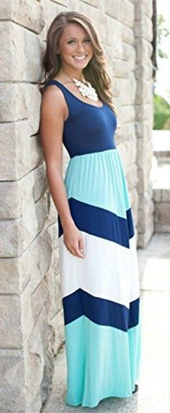 Womens Striped Zig Zag Scoop Neck Chevron Print Tank Maxi Long Dress // More at http://www.cutedresses.co/go/Striped-Zig-Zag-Scoop-Neck-Chevron-Print-Tank-Maxi-Long-Dress