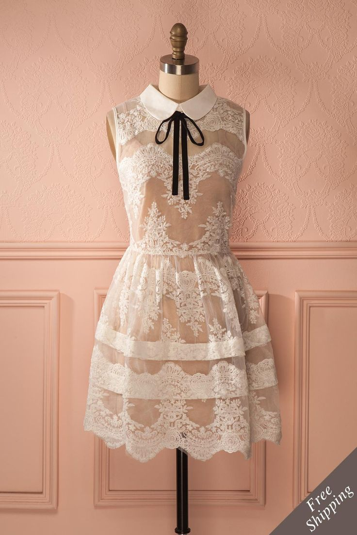Elle était fin prête pour une heure du thé rocambolesque au Pays imaginaire !  She was ready for her fantasy-filled tea time in Never Never Land!  See-through white lace dress with Peter Pan collar  https://1861.ca/products/andreina