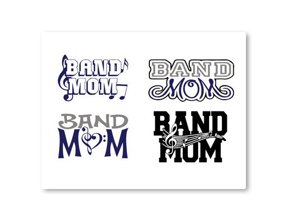 Band Mom, Music, Marching Band, Music Note, TShirt Design, Cut File, svg, pdf, eps, png, dxf by HJYGraphicDesign on Etsy