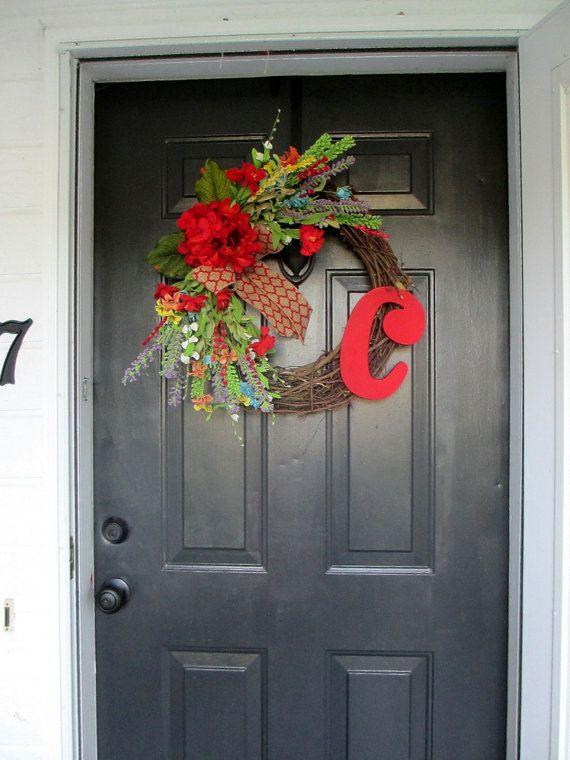 Door Decorations, Fall Wreath, Monogram Wreath, Front Door Wreath, Burlap  Bow,