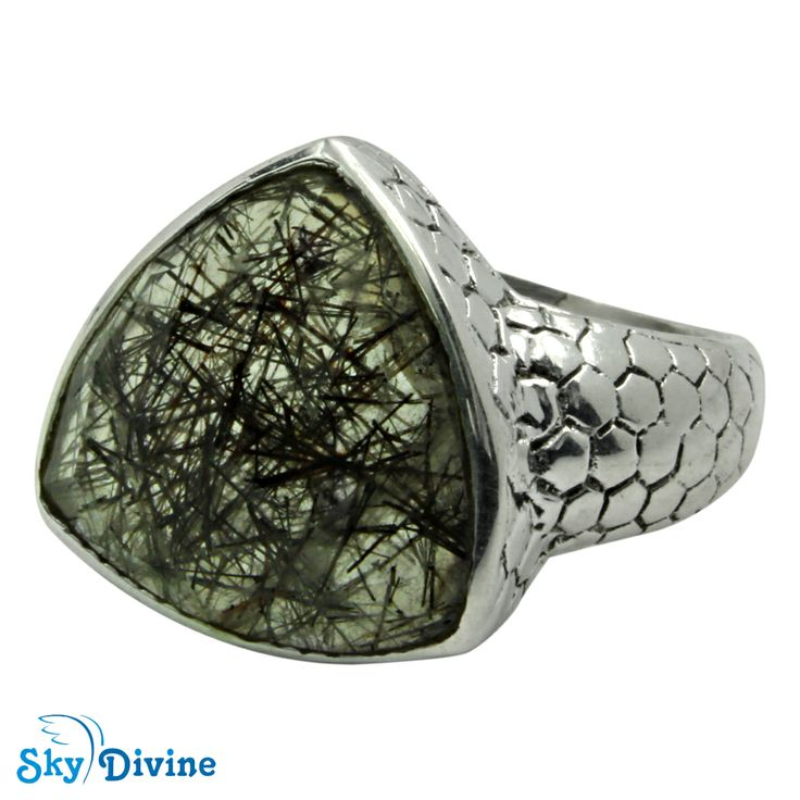 This handmade black rutile piece can stand alone by itself with the chunky body and scaly surface. The beautiful sterling silver ring is equally beautiful as the stone. Wear this nice piece all the time! Click on the pic to buy : Sky Divine | 925 Sterling Silver Black Rutile Ring Size 7 US, $61.22