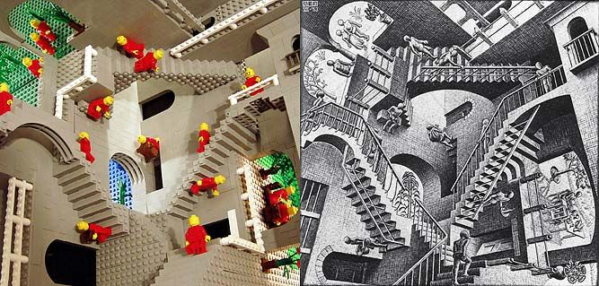 """This  Clever M.C Escher Lego® construction was made by Andrew Lipson and Daniel Shiu. They have successfully recreated famous lithographs by the renowned Escher. They used Lego® bricks using a """"SNOT"""" (""""Studs not on top"""") technique, which is having the plastic studs pointing in lots of different directions:"""