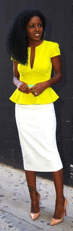 Boohoo Neon Yellow Peplum Top by Style Pantry