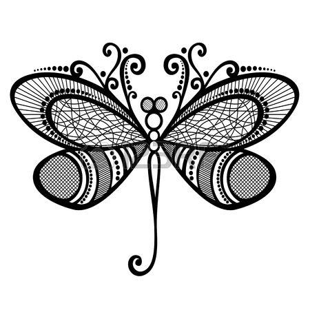 Vector bella libellula, disegno esotico Insetto Patterned, Tattoo