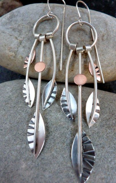 Beautiful, totally original and handmade silver harvest earrings with warm copper accents part of my harvest collecton featuring contrasting