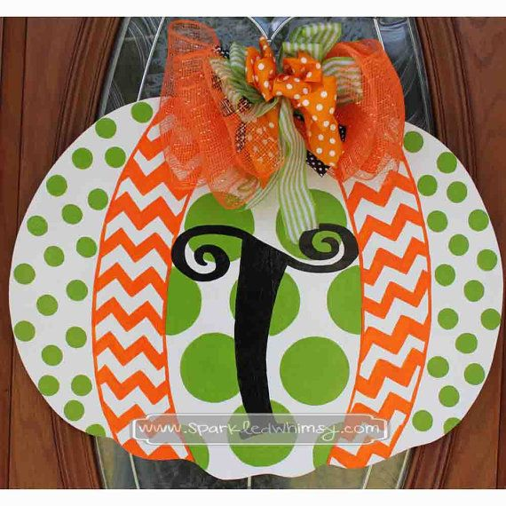 Monogrammed Polkadot & Chevron Pumpkin Fall Door Hanger Sign