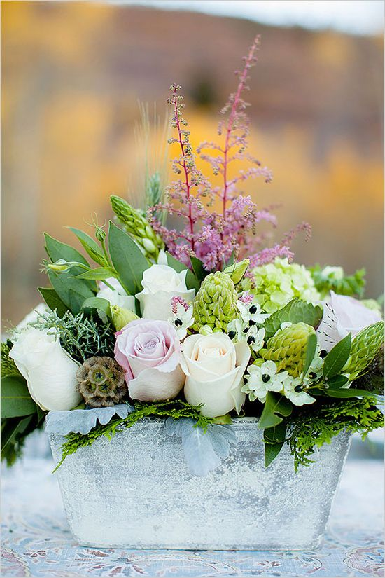 pink and green wedding arrangement