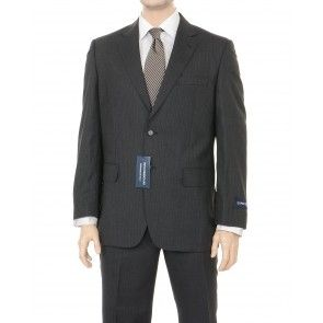 Rino Bresciani Classic Fit Gray Striped Wool Suit from The Suit Depot. This entire ensemble is classic, appropriate funeral attire for men.