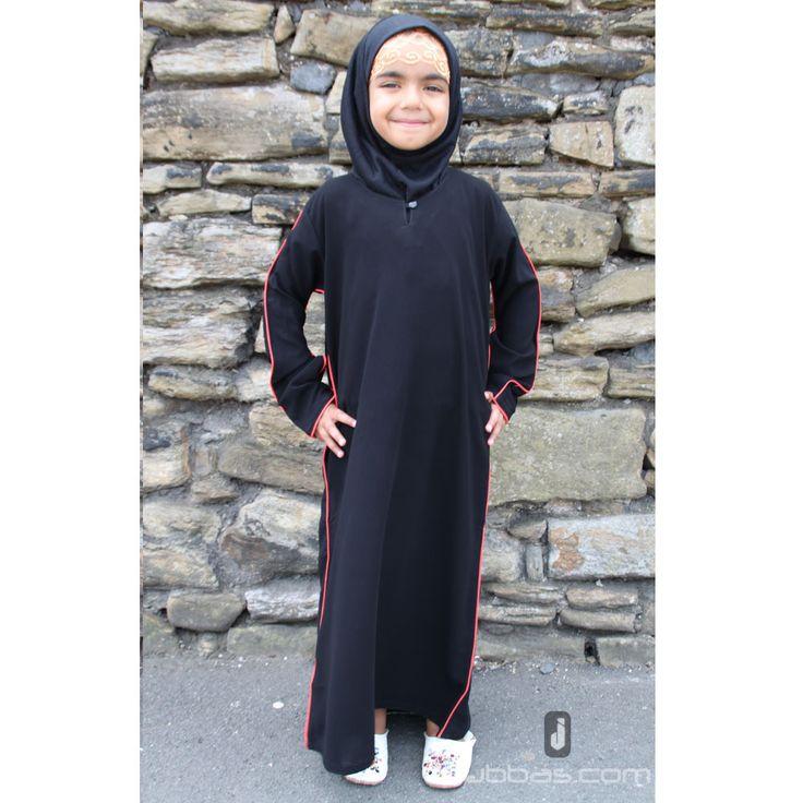 Girls Piping Abaya - Black with Red Piping