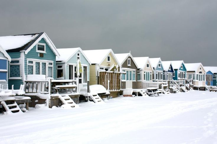 Mudeford, Christchurch Dorset  Beach Huts in the Winter