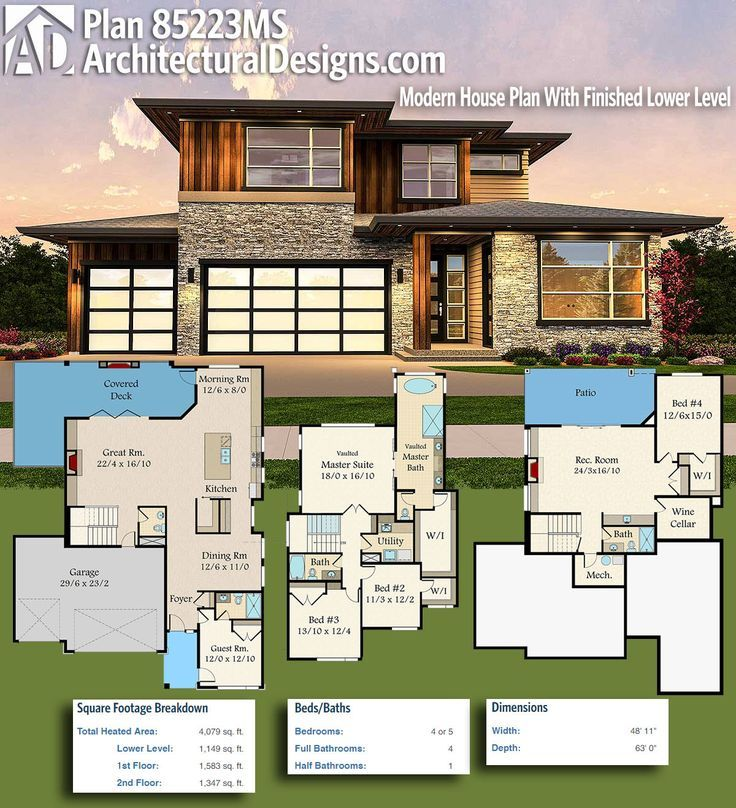 Modern House Plans Architectural Designs Modern House Plan 85223ms Gives You 4 Beds And Over 4 000 Dear Art Leading Art Culture Magazine Database Modern House Plan House Plans Modern Floor Plans