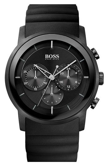 BOSS HUGO BOSS Round Chronograph Rubber Strap Watch, 42mm available at #Nordstrom