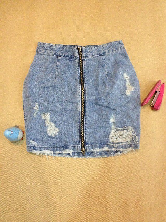 Аутентичные Корейский мини-бренд весной и осенью диких личности делать старые потертые джинсовые юбки короткие 462 - Taobao