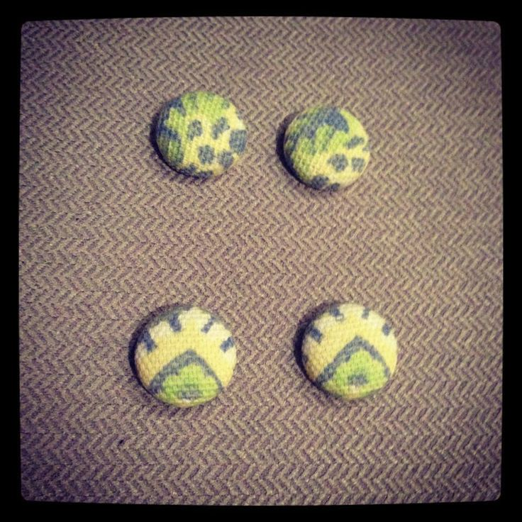 Fabric button earrings handmade $8 pair 15mm