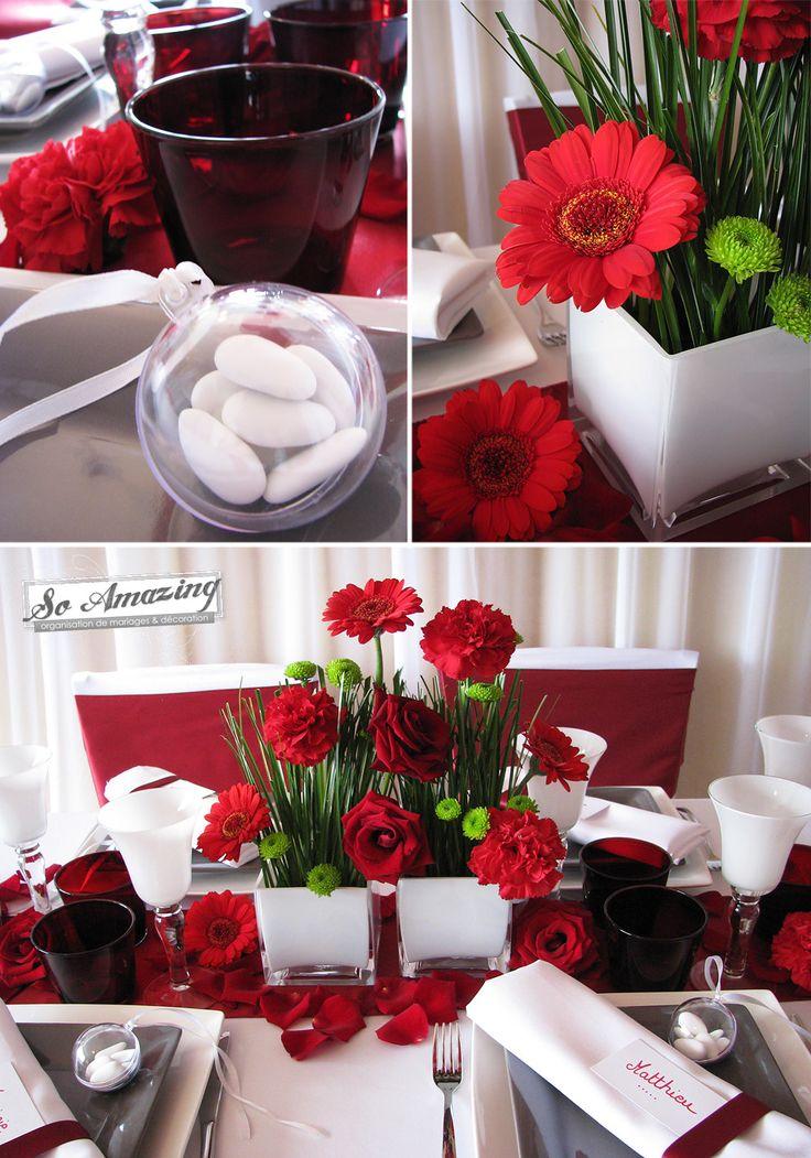 Location de housses de chaise blanches - Decoration florale mariage Poitiers - Rouge bordeaux