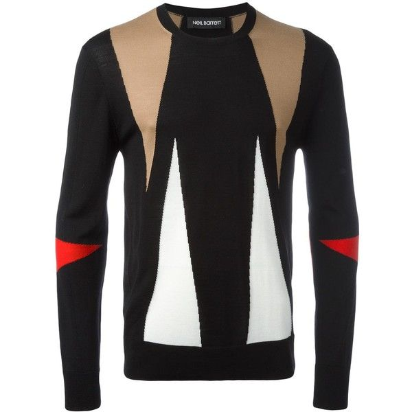 Neil Barrett Intarsia Geometric Pattern Jumper ($620) ❤ liked on Polyvore featuring men's fashion, men's clothing, men's sweaters, white, mens merino sweater, mens white sweater, mens ribbed sweater and mens merino wool sweater