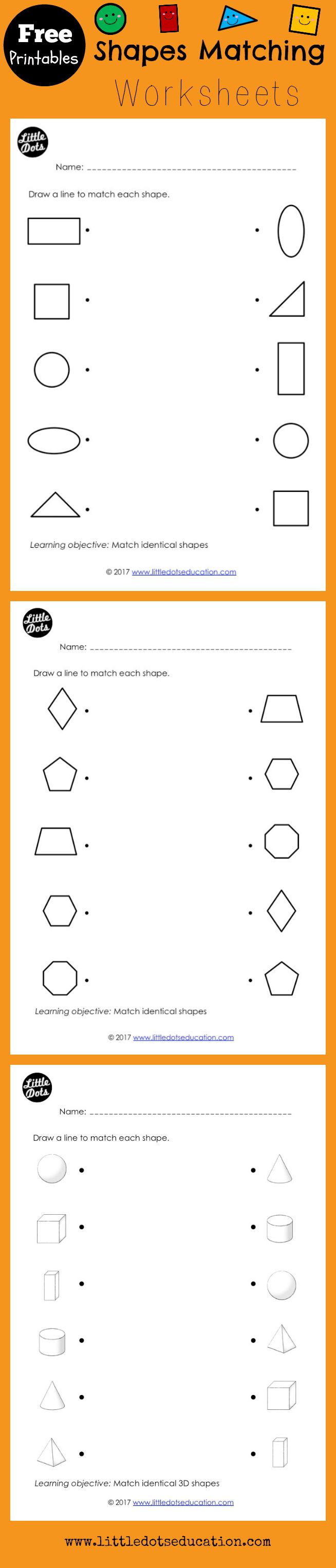 Free shapes matching worksheets for preschool, pre-k or kindergarten class. Scroll down to the bottom of the post to find the link for the free shapes matching printable.