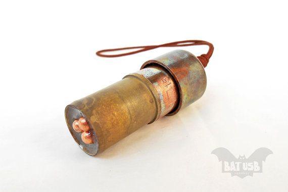 BAT™ 32GB USB flash drive - Memory Stick Bullet - Computer gadget - Copper usb - Unique design - Handmade jewelry usb for women and men - 4.7cm Height x 2cm Diameter - by Think4HandmadeArt, €48.00