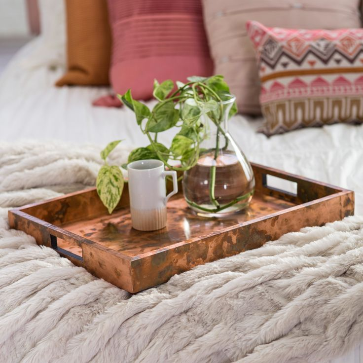 Uttermost Ambrosia Copper Tray | from hayneedle.com Dimensions: 18L x 14W x 2H in. Wooden construction Oxidized copper sheeting Convenient cut-out handles